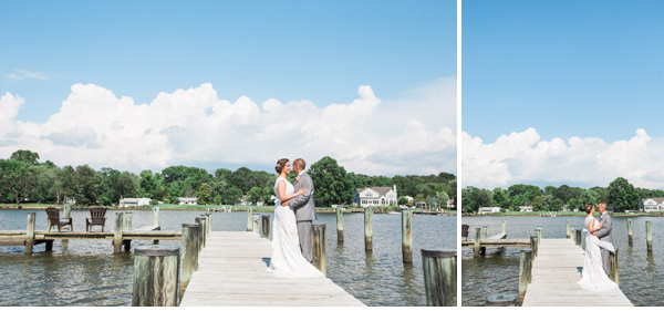 bride & groom on the dock