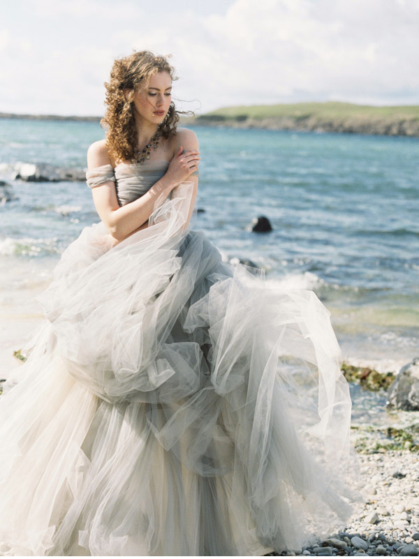 gown billowing in the wind